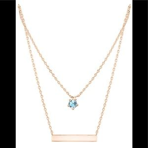 Jewelry - Bar Necklace Rose gold with aquamarine stone New